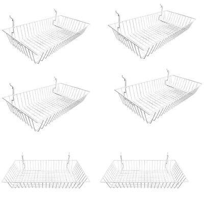 6pc 24x 12x 4 Shallow Basket Display Rack White Metal Wire Slatwall