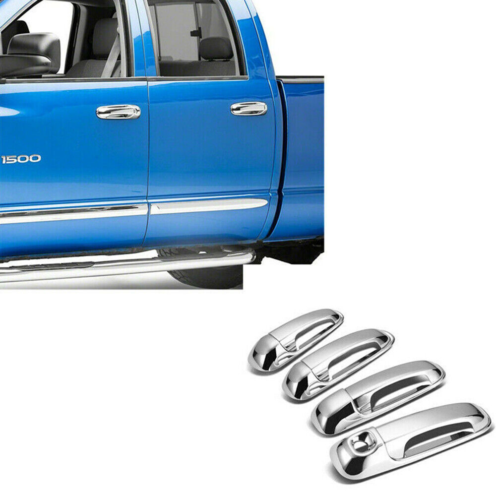 For 2002-2008 Dodge Ram 1500 Chrome Door Handle Covers W//Smart Button