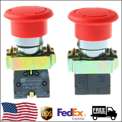 Red Mushroom 1nc Emergency Stop Xb2-bs542 Push-button Switch 248pcs Us Shpping