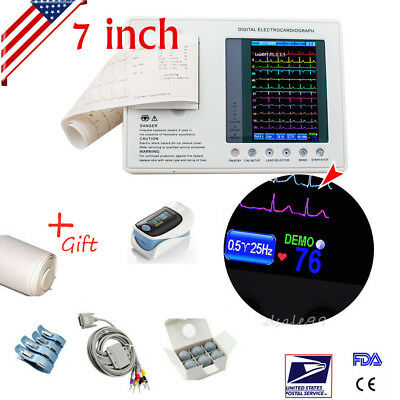 Digital 3-channel Electrocardiograph Ecgekg Machine Printer Medical Oximeter A