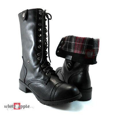Women Military Army Combat Mid Calf Lace Up Boots Soda Oralee Black Pu Size 5.5  Blk Pu Calf Boot