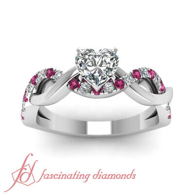 Round Pink Sapphire Engagement Ring 0.70 Ct Heart Shaped VS1 G-Color Diamond GIA 1