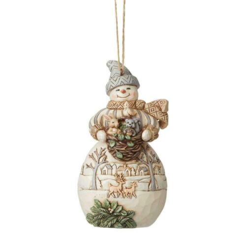 Jim Shore WHITE WOODLAND SNOWMAN WITH BASKET & ANIMALS ORNAMENT 6008868 NEW 2021