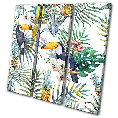 Tropical Fruit Picture (Tropical Flowers Birds Fruit Floral TREBLE CANVAS WALL ART Picture Print )