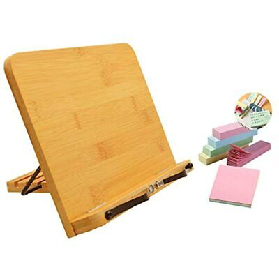 SITAKE Adjustable Bamboo Book Stand With 500 Sheets Colorful Sticky Notes, For X
