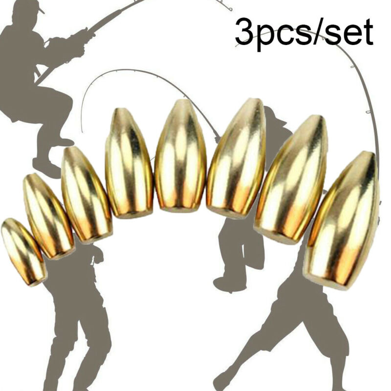 Pro 3Pcs//set Fishing Tungsten Sinkers Bullet Shape Flipping//Worm Weights 6 Size