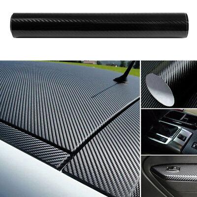"US Car Accessories 5D Carbon Fiber Vinyl Wrap Black Sticker Glossy Decal 12x60"""
