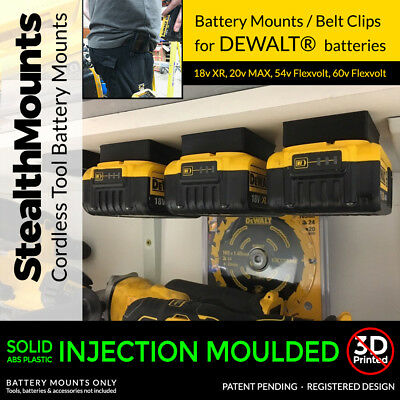 5x Black DeWALT XR BATTERY MOUNTS great for Tough System Shelves Racks Case Van