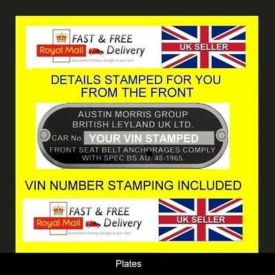 AUSTIN MORRIS BL CARS MINI  ID ALL BLANK VIN CHASSIS PLATES STAMPED FOR YOU
