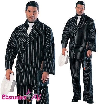 ADULTS GANGSTER COSTUME MENS DELUXE 1920S 20S GATSBY BUGSY MALONE AL CAPONE SUIT - Gatsby Costume Mens