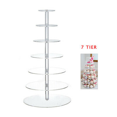 7 Tier Acrylic Cupcake Cake Stand Round Clear Holder Birthday Wedding Party New
