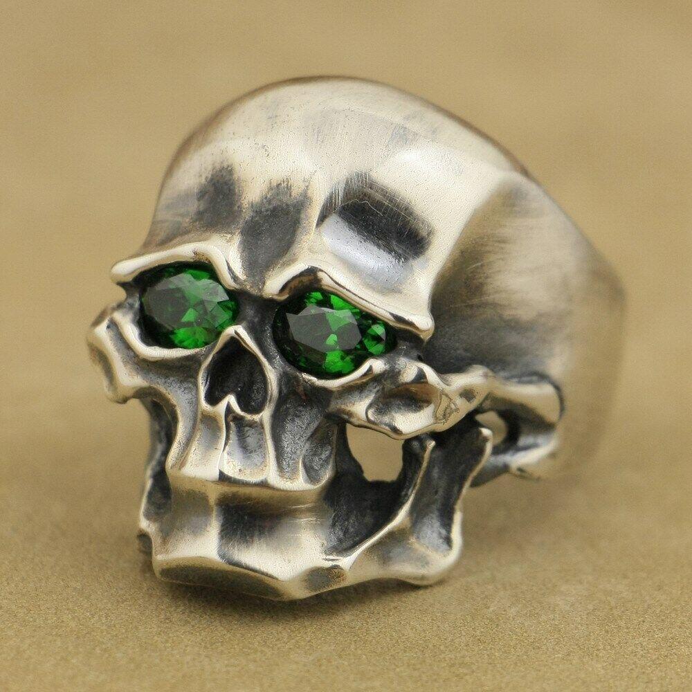 925 Sterling Silver Blue Green CZ Eye Polished Skull Men Biker Gothic Ring 9G403