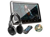 "10.1"" In Car Headrest HD DVD USB Monitor Screen For Kids Movie Games & Headphone"