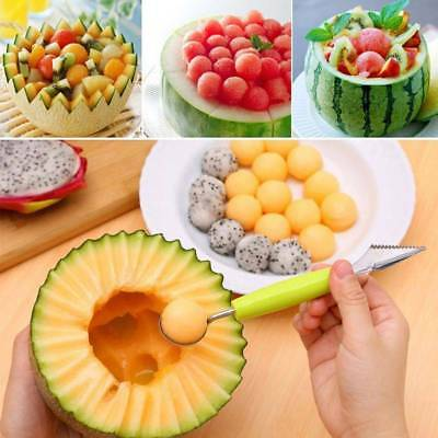 1x Cream Kitchen Stainless Steel Spoon Double-End Fruit Melon Cutter Baller