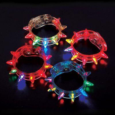 12 pcs Light Up Flashing Spike LED Bracelet Multi Colored Party Raves birthday