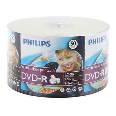 300 16x Philips White Inkjet Hub Printable Dvd-r Recordab...