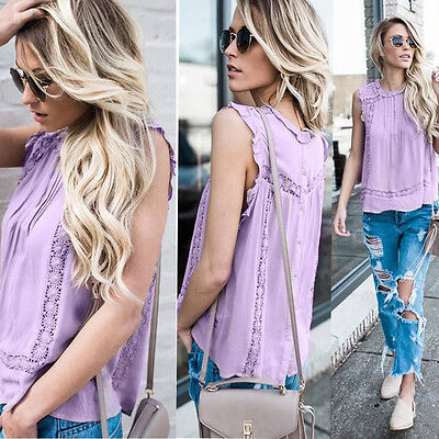 Women Hollow Out Solid T-Shirt Sleeveless Casual Blouse Daily Tank Crop Tops A