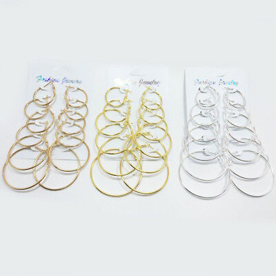 6Pairs/set Fashion Big Circle Huggie Hoop Round Earrings Women Ear Studs Earring