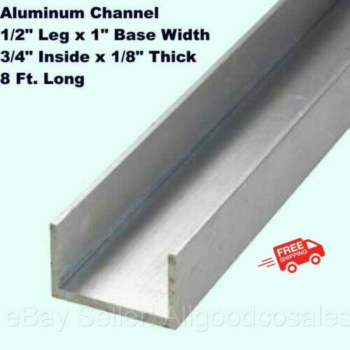 "Aluminum Channel 1/2"" Leg x 1"" Base Width x 3/4"" Inside x 1/8"" Thick x 8 Ft."