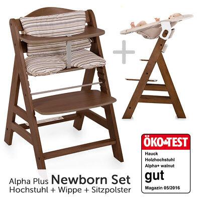 Hauck Hochstuhl Alpha Plus Holz - Newborn Set inkl. Neugeborenenaufsatz & Wippe