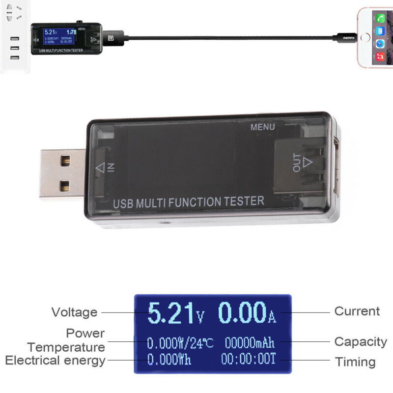 USB Digital LCD Tester Power Capacity Detector Timer Current Voltage Meter USA