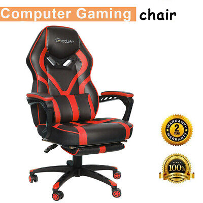 Gaming Chairs Racing Style Leather Office Recliner Computer Seat Swivel Footrest