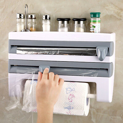 Kitchen Roll Dispenser Cling Film Tin Foil Paper Towel Holder Rack Wall Mount - Film Paper Roll