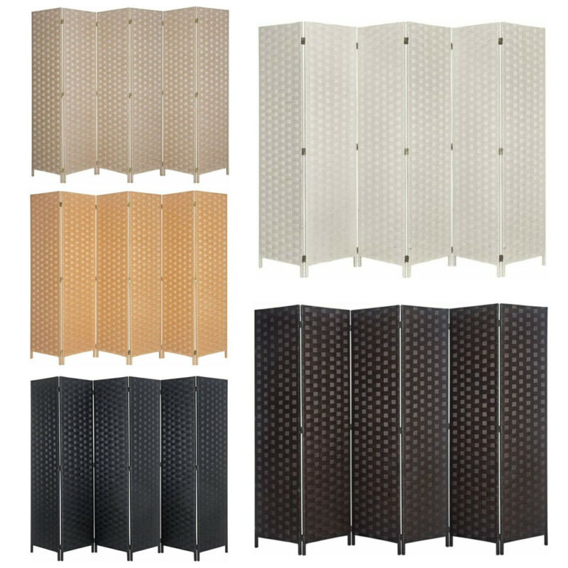 4 6 8 Panel Room Divider Double Side Woven Fiber Better Privacy Screen Partition