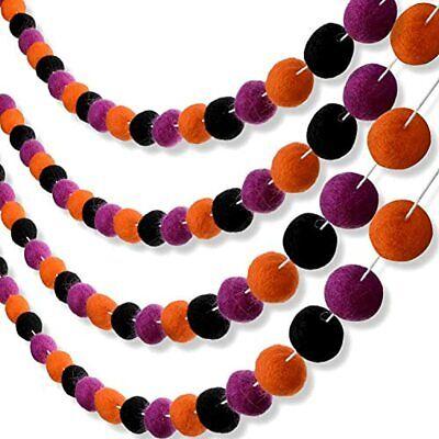 Tatuo 2 Pieces Halloween Felt Ball Garland Pom Garlands Black Orange Purple Home