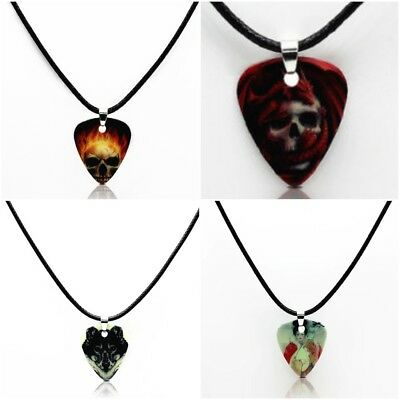 Cool Skull Skeleton Flaming Rock Metal Wolf Multi-Style Guitar Pick Necklace New - Flaming Skull Necklace