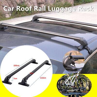 Car Roof Rail Luggage Rack Baggage Carrier Cross Aluminum Black w/Antitheft Lock