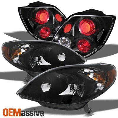 Fits 03-08 Matrix Black Bezel Headlights Replacement + Black Tail Lights Lamps 04 Toyota Matrix Headlight