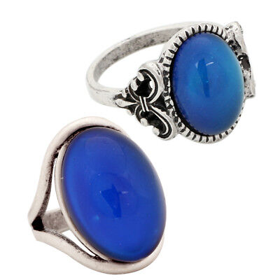 - 2PCS Real Antique Silver Plated Mood Ring Fashion Color Change Ring Size 7/8/9