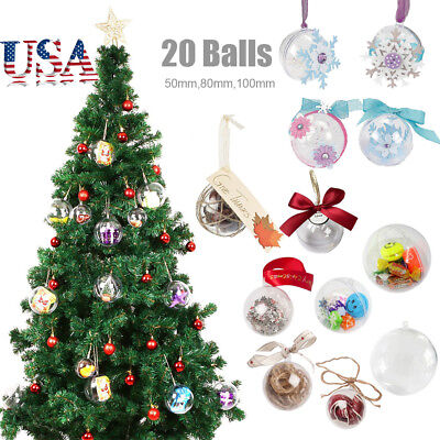5/8/10cm 20pcs Balls DIY Clear Fillable Plastic Baubles Christmas Tree - Clear Fillable Christmas Ornaments