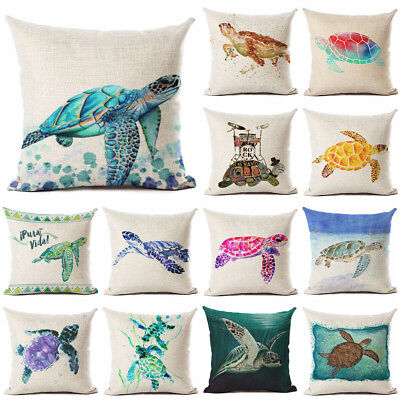 Linen Sea turtle Printed Throw Pillowcase Ocean Style Cushion Cover Home - Sea Turtle Pillow