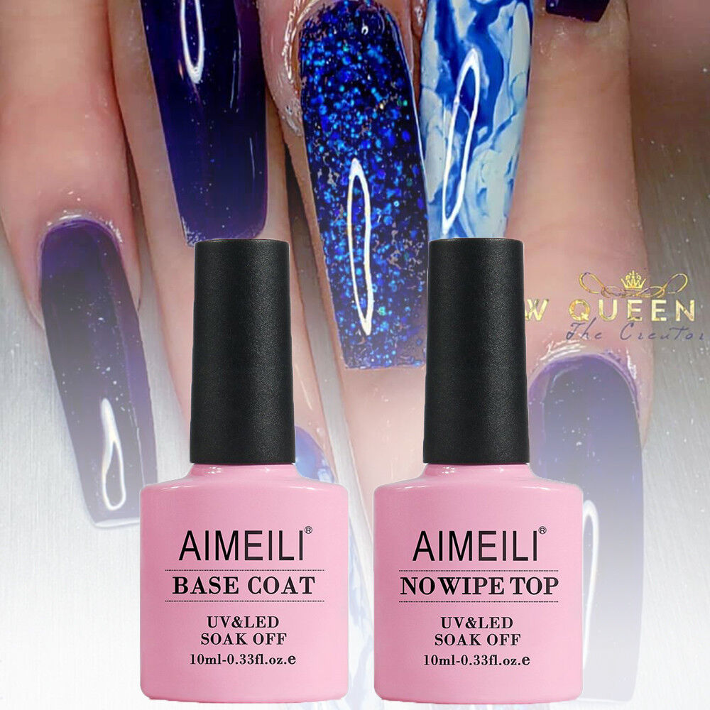AIMEILI Soak Off UV LED Gel Nail Polish - Base And No Wipe T