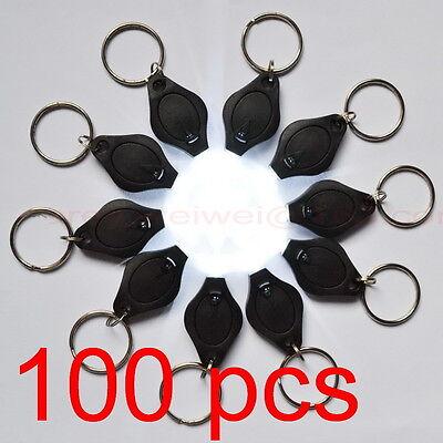 100pcs LED Mini white light MICRO KEYCHAIN KEY RING FLASH BRIGHT FLASHLIGHT Gift