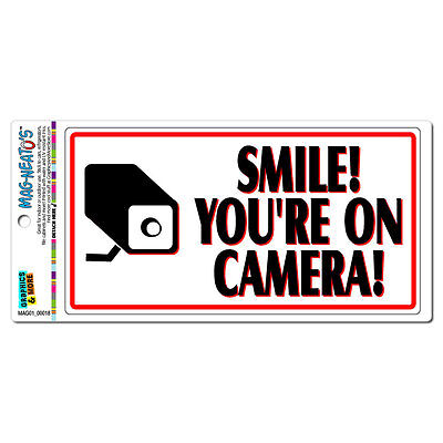 Smile You're On Camera Video Surveillance Business Sign MAG-NEATO'S™ Car Magnet