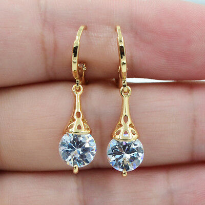 18K White Gold Filled Round White Topaz Zircon Women Earrings Jewelry (Golden Wedding Earrings)