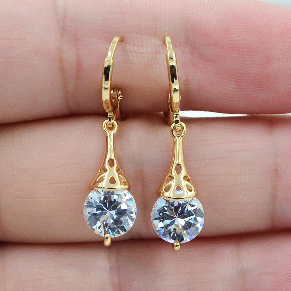 Jewellery - 18K Yellow Gold Filled Round White Topaz Zircon Women Earrings Jewelry Wedding