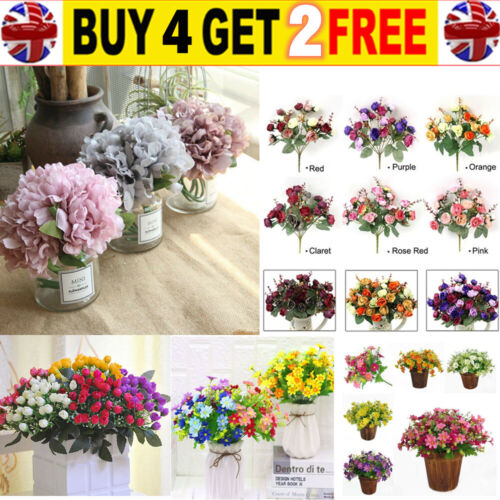 Home Decoration - 21 Heads Artificial Silk Hydrangea Fake Flowers Bouquet Bunch Party Home Decor