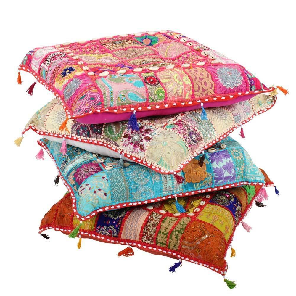 Indische sitzkissen bodenkissen yogakissen patchwork for Indische beistelltische