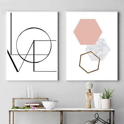 LOVE Letter Art Canvas Nordic Poster Print Minimalist Geometry Abstract (Love Letter Art)
