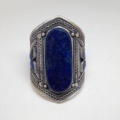 Vintage Afghan Ethnic Turkmen Oval Shape Lapis Lazuli Cuff Bracelet Statement