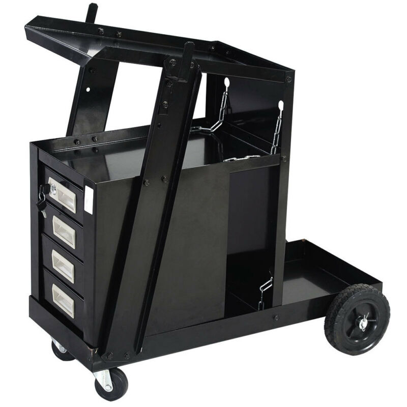 Welding Cart for MIG TIG Flux Welder Heavy Duty Swivel Wheels Universal FEDEX