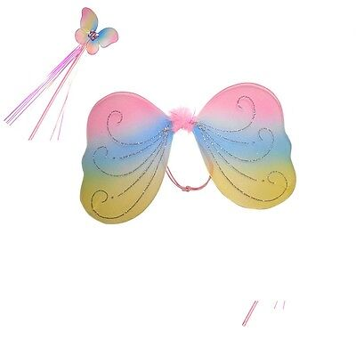 Rainbow Fairy wing and wand set ForKids Girls A Real Fairy (Real Fairy Costumes)