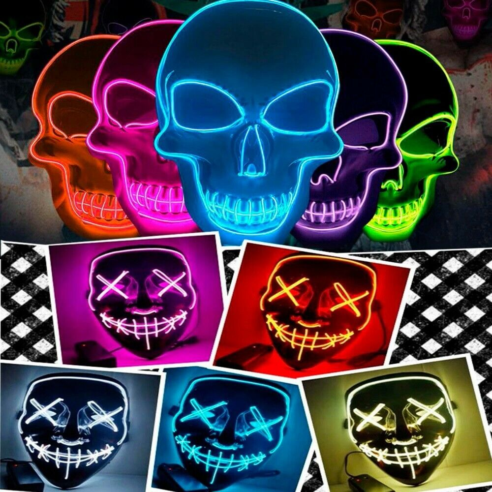 Halloween LED Glow Mask 3 Modes EL Wire Light Up The Purge M