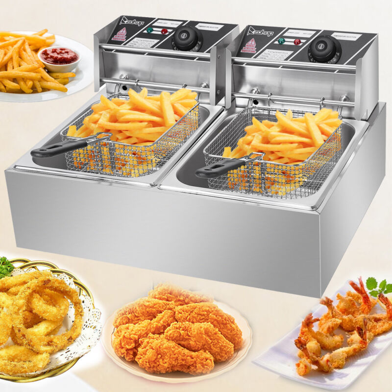 5000W Electric Deep Fryer Dual Tank Commercial Restaurant 12L