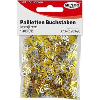 BASTELMATERIAL PAILLETTEN BUCHSTABEN SILBER & GOLD 1400 STÜCK BASTELN