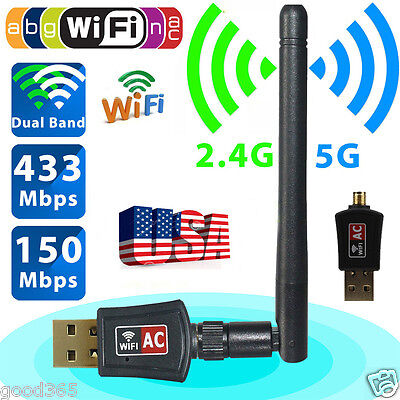 600Mbps Dual Band 2.4/5Ghz Wireless USB WiFi Network Adapter 802.11AC w/ Antenna